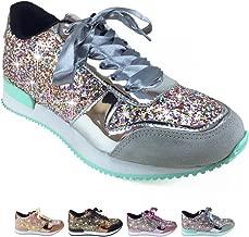 Barcelonetta Women | Glitter Fashion Sneakers | Sparkle Tennis Shoes