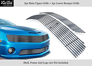 APS 304 Stainless Steel Billet Grille Grill Combo Compatible with 10-11 Chevy Camaro LT LS V6 C61027C