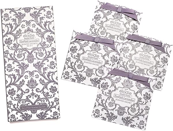 Elodie Essentials 英式薰衣草香包一套 4 个大号礼品盒装香包用于抽屉和壁橱皇家锦缎英式薰衣草