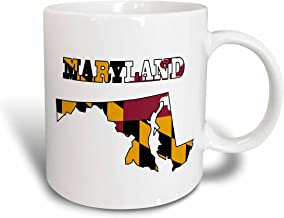 3dRose mug_58741_1 Maryland State Flag in The Outline Map and Letters for Maryland Ceramic Mug, 11-Ounce