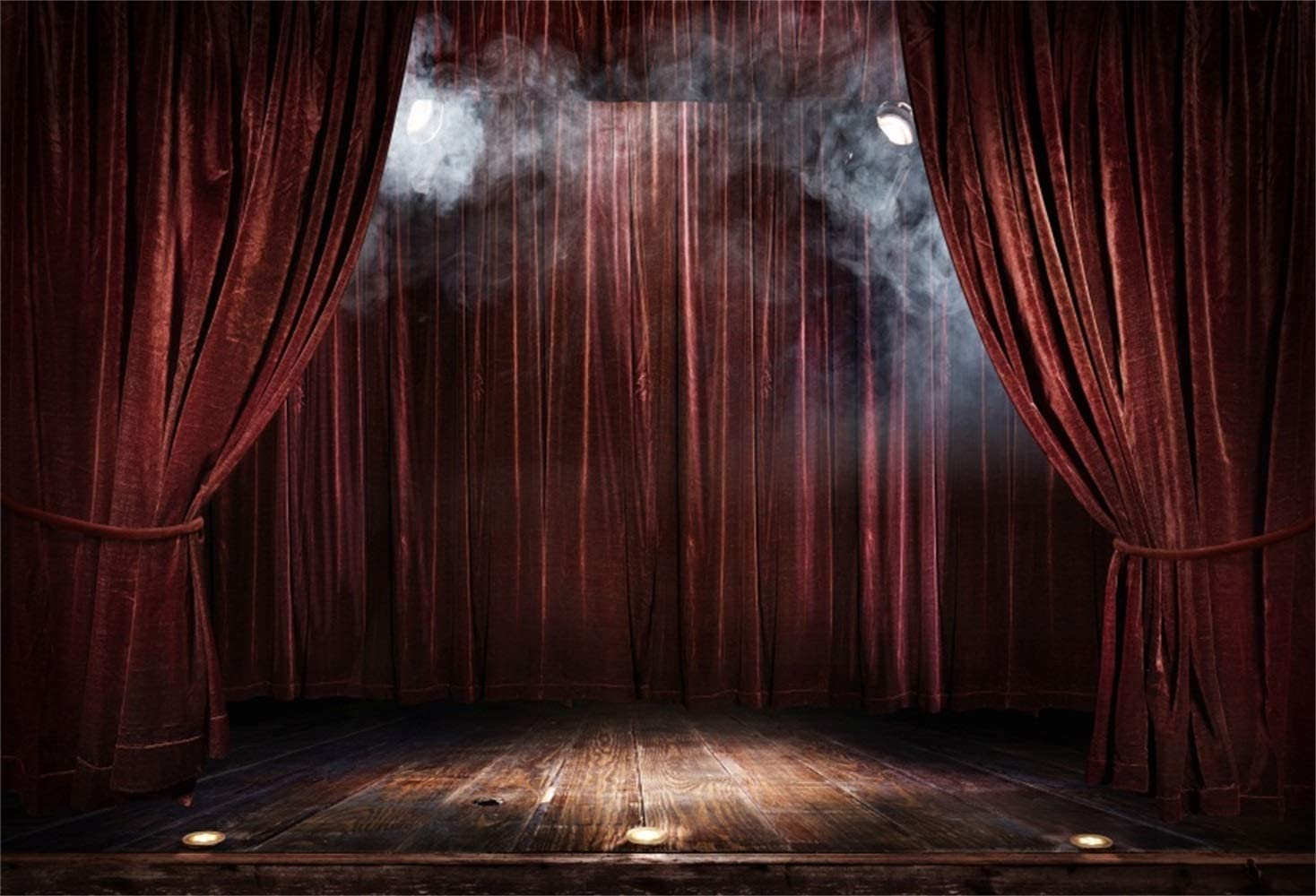 Red Curtain Stage Backdrop 10x6.5ft Polyester Shabby Foggy Performance Stage Vintage Wooden Floor Spotlight Photography Background Studio Child Adult Portrait Shoot Party Show Banner