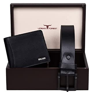 Urban Forest Brian Black Leather Wallet & Black Casual Belt Combo Gift Set for Men - Packed in Premium Wooden Box for Festive Gifting…