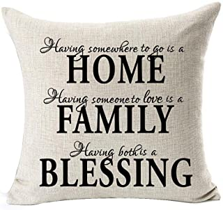Nordic Simple Warm Sweet Quotes Black Home Family Blessing Cotton Linen Throw Pillow Case Cushion Cover Home Office Decora...