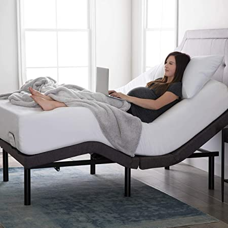 Base de cama ajustable Lucid L300: ensamblaje en 5 minutos, puertos de carga USB dobles, inclinación en cabeza y pies, control remoto inalámbrico, con revestimiento, ergonómica, individual XL
