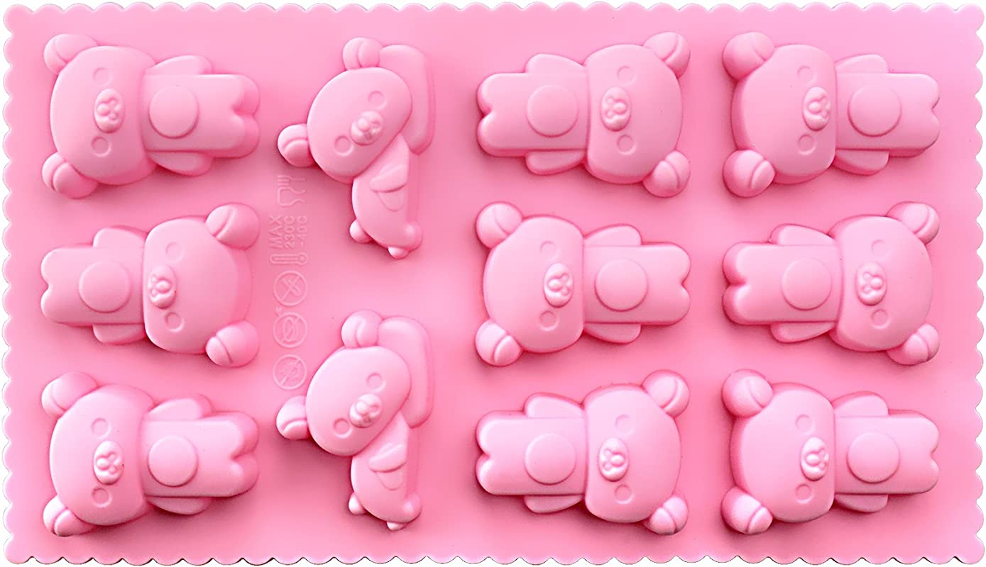 Funshowcase Sleepy Bear Chocolate Candy Silicone Mold Teacake Baking Pan