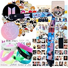 Fans Gift Set - 1 Wristlet Lanyard Keychain, 8 Ins Cards, 7 Silicone Bracelet, 1 Phone Ring Stand, 1 Keychain, 40 Lomo Card, Set of 63 Piece Laptop Stickers, 2 Button Pin, 1 Tattoo Sticker