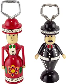 Set of 2 Mexican Mariachi Wooden Bottle Opener - Handcrafted Wood Couple of Charros