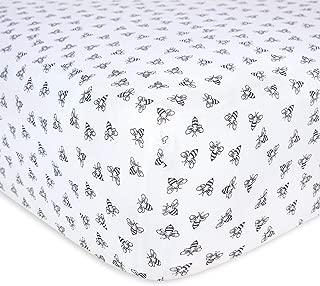 Burt's Bees Baby - Honeybee Print Fitted Crib Sheet, 100% Organic Crib Sheet for Standard Crib and Toddler Mattresses (Blueberry)