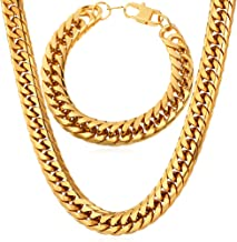 U7 Thick Franco Curb Chain Necklace Bracelet Set, Stainless Steel/Gold Plated/Black Gun Plated,12MM Wide
