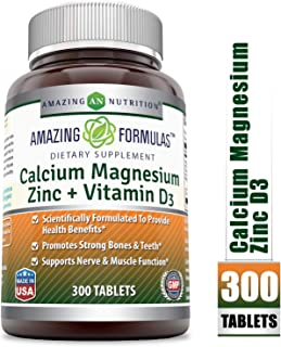 Amazing Formulas Calcium Magnesium Zinc + D3 - 300 Tablets Per Bottle (Calcium 1000mg - Magnesium 400mg - Zinc 25mg Plus Vitamin D3 600 IU - Per Serving of 3 Tablets)