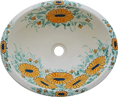Mexican Talavera Handmade Hand Painted Bathroom Sink Sunflowers # 159