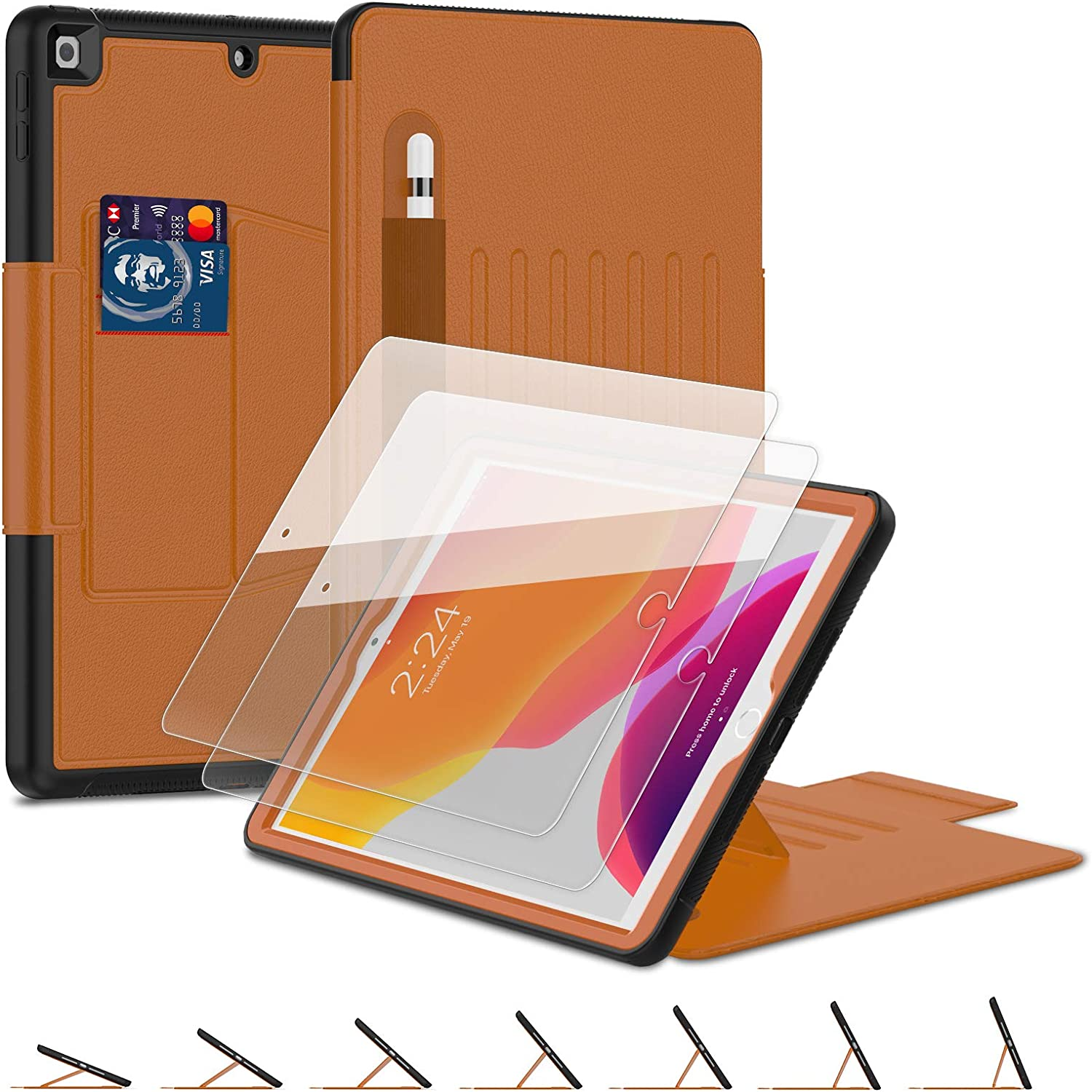 iPad 8th/7th Generation 10.2 Case (2020/2019), [7 Angles Magnetic] BASE MALL Full Body Protective Leather Case with [2 Pack] 9H Tempered Glass Screen Protector, Pencil Holder, Sleep/Wake Cover (Brown)