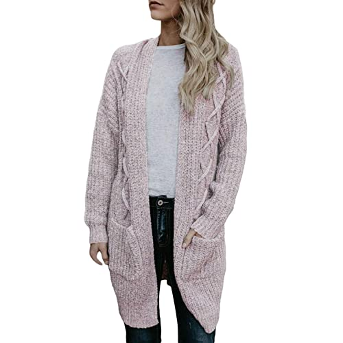 fb058a953b Elapsy Womens Open Front Long Sleeve Chunky Cable Knit Long Cardigans Sweater  Pockets