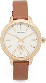 Tory Burch Women's The Collins Leather Watch, Gold/Ivory/Luggage, One Size