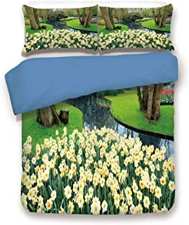 Blue 3pc Bedding Set,Flower Garden in Recreation Park with Fresh Grass Field and Pond Nature Scene Twin Duvet Cover Set,Printed Comforter Cover with 2 Pillowcases for Teens Boys Girls & Adults