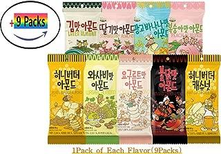 Gilim Farm Almond 9 Types 30g- Honey Butter,Cashew Nut, Wasabi, Laver(Seaweed), Hot&Spicy (Buldak),Yogurt, Strawberry, Peach, Mango Banana Flavor - Korean Seasoned Almonds Snack Care Pack 30g x 9Packs
