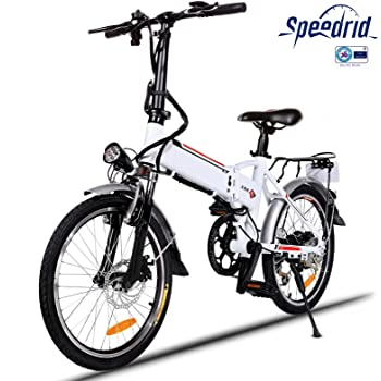 Speedrid Bicicleta eléctrica ebike electrica 26/20 Ebike ebike montaña para Bicicleta con Motor sin escobillas 250 W Batería de Litio 36 V 8 Ah Shimano Velocidad 21/7 (20 Pulgadas-Blanco): Amazon.es: Deportes y aire libre