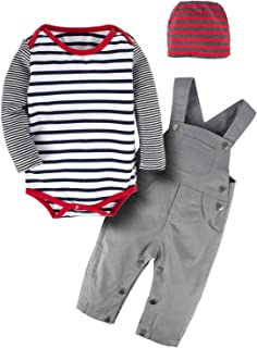 3Pcs Baby Boy Long Sleeve Striped Bodysuit Romper Overalls Outfits Pants Set with Hat