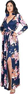 Womens Long Sleeve Floral Print V-Neck Cross Over High Slit Cocktail Evening Gown Maxi Dress