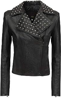Chiodo giacca in vera pelle nera donna Campobasso