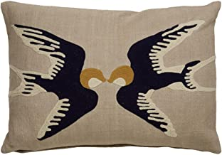 Jaipur Kissing Birds Pattern Taupe/Blue Cotton Down Filled Pillow (14x20)