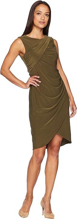 Matte Jersey Gathered Sheath Dress