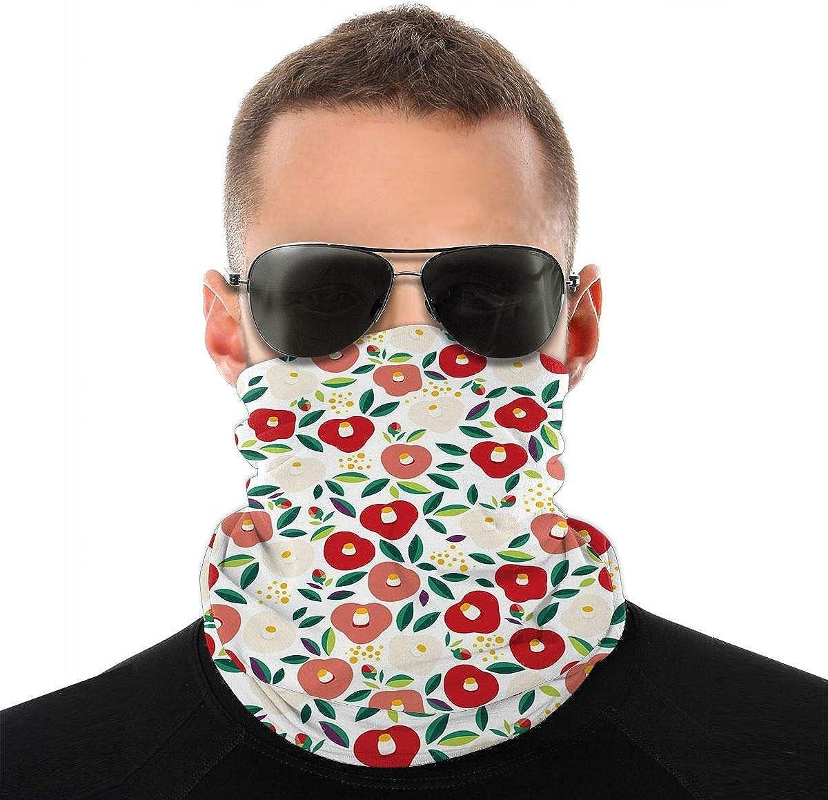 KiuLoam Japanese Camellia Flowers Seamless Face Mask Bandanas Neck Gaiter for Men and Women, Multifunction Headband Scarf for Dust, Outdoors, Sports