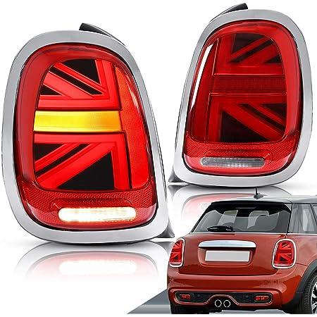 Vland Rückleuchten Für 2014 2018 Mini Cooper F55 F56 F57 Union Jack Rücklichter Mit Sequentieller Blinker Uk Inventar Rot Linse Auto