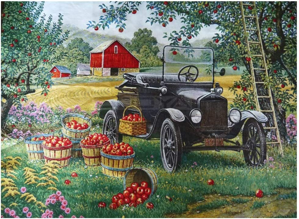 DIY 5D Kit de pintura de diamante por números Tractor agrícola de huerto de manzanas 40x60cm bordado de diamantes de imitación,para decoración de la pared del hogar