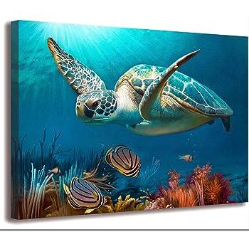 Bathroom Wall Decoration Marine Wall art Turtle Decoration Turtle Picture Artwork Canvas Printing Nautical Bathroom Art beach Art Children Room Decoration Canvas Frame Printing Bedroom Ready To Hang