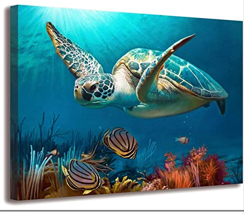 Bathroom Wall Decoration Marine Wall art Turtle Decoration Turtle Picture Artwork Canvas Printing Nautical Bathroom A...
