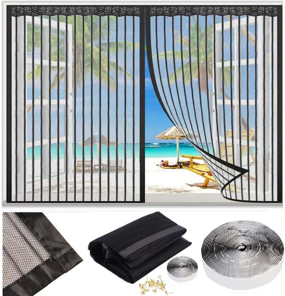 Cortina Mosquitera Magnética Para Puertas ventanas Tamaño personalizable Cortina Mosquitera Para Puertas Que Evita el Paso de Insectos. Fácil de ensamblar 155x225cm