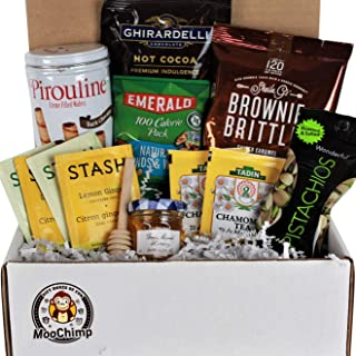 Get Well Gifts Basket Box , for Women, Men. Care Package Crate Box is Filled with Tea, Honey, Hot Chocolate Cocoa & Nuts. Sickness, Cold, Flu, Surgery, Illness, Injury & Recovery, Get Well Soon Kit