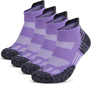 Running Socks, GUUMOR High Performance Compression Athletic Socks for Womens and Mens With Cushioned Moisture Wicking Bottom