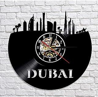 GYJCD Emiratos Árabes Unidos Reloj De Pared Dubai Skyline Vinyl Record Clock UAE Paisaje Urbano Reloj Decorativo Decoració...