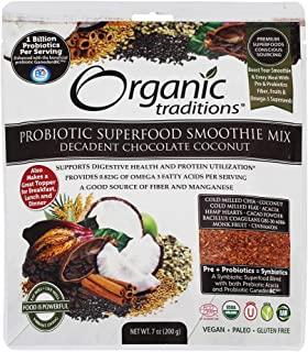ORGANIC TRADITIONS Probiotic Smoothie Mix Chocolate Coconut, 200 GR