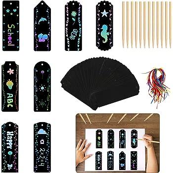 45 Set de trousses de cr/éation de marque-pages Rain Scratch Magic Scratch Rainbow Paper Etiquettes cadeaux bricolage avec une corde color/ée et un stylet en bois pour les enfants.