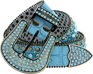 Women's Western Cowgirl Rhinestone Studded Leather Belt 1-1/2