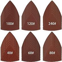 ODOMY 60 discos de lija triangular de 3 – 1/8 pulgadas, sin agujeros, incluye papel de lija para pulir grano 40/60/80/100/120/240 para taladro, herramienta rotativa