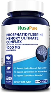 Sponsored Ad - Phosphatidylserine Memory Ultimate Complex 1000mg Per Serving 200 Vegetarian Caps (Vegan, Non-GMO & Gluten-...