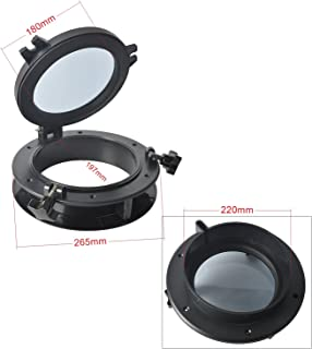 Amarine Made Boat Yacht Round Opening Portlight Porthole 10 Replacement Window Port Hole - ABS, Tempered Glass -Marine/Boat/rv Portlight Hatch, Color: White, Black