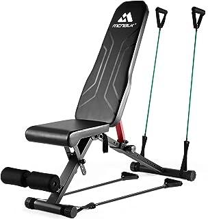 نیمکت وزنه ای برای نیمکت تمرینی تاشو تمام بدن 650 پوند ، MCNBLK قابل تنظیم تمرین نیمکت برای نیمکت های تمرینی بدن سازی در منزل - بنشینید نیمکت شیب دار شیب تخت 8 موقعیت باند مقاومت