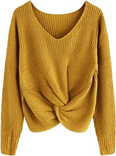 WITKEY1 Pull Femme Sweaters Long Sleeve Solid Color V Neck Sexy Cross Knotted Panel Sweater
