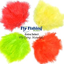 The Fly Fishing Place Fly Tying Materials - Select Woolly Bugger Marabou Master Pack 3-4 Fluorescent Colors - Red Yellow Fire Orange Chartreuse