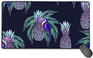 Funny Large Extended Gaming Mouse Pad, Desk Office Mousepad Stitched Edges,Non-Slip Rubber Computer Keyboard - Oucans and Pineapples On Dark Background