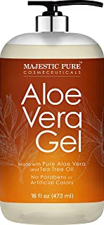Majestic Pure Aloe Vera Gel with Tea Tree Essential Oil - Moisturizes, and Nourishes Skin - Soothes Sunburn, Bites, Rashes...