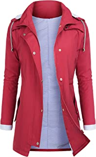 AUDIANO Rain Jackets Women Lightweight Raincoat Striped...