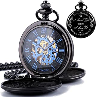 ManChDa Mechanical Engraved Pocket Watches for Husband Skeleton Persoized Gift with Box Chain for Mens Lover to My Husband I Love You Then i Love You Still Always Have Always Will