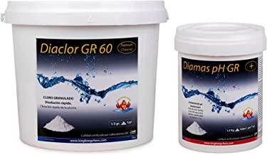 Pack Cloro Rápido + Elevador pH: DIACLOR GR 60 5 KG + DIAMAS PH GR 1 KG   Kit Tratamiento Piscina