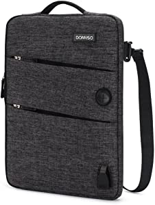 DOMISO 10.1 Inch Waterproof Laptop Sleeve Canvas with USB Charging Port Headphone Hole for 10.1-10.5 Inch Laptops / eBooks / Tablets / iPad Pro / iPad Air / Lenovo Yoga Book / Acer , Black